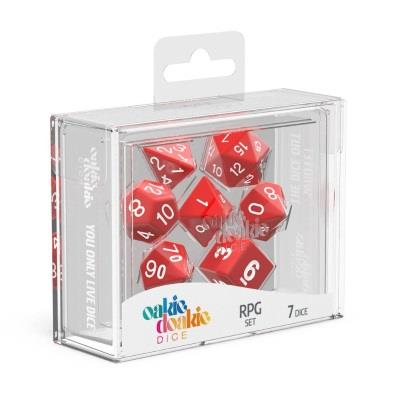 Oakie Doakie Dice Würfel RPG-Set Solid - Rot (7)